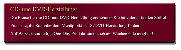 Preise CD-/DVD-Produktion
